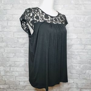 Banana Republic Black Mesh Flower Top Blouse - M